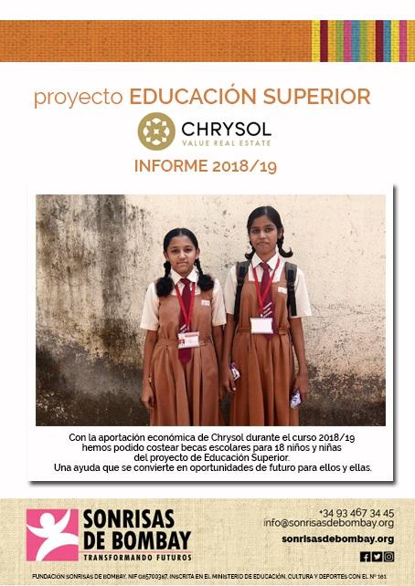 ¡¡Chrysol solidario!! Aportando nuestro granito de arena para que todos los niños puedan tener acceso a la educación y a un futuro mejor.
